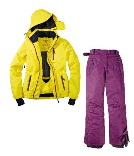 Skianzug 2tlg. Funktioneller Skianzug Für Damen Gr. 42 M-4 Farbe. Gelb-Violett Schneeanzug