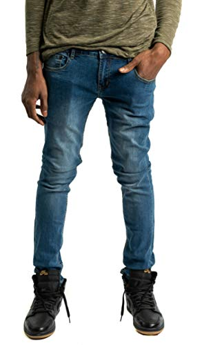 Mason & Co. Men's Premium Skinny Jeans Stretch Denim (Light Blue, 34X32)