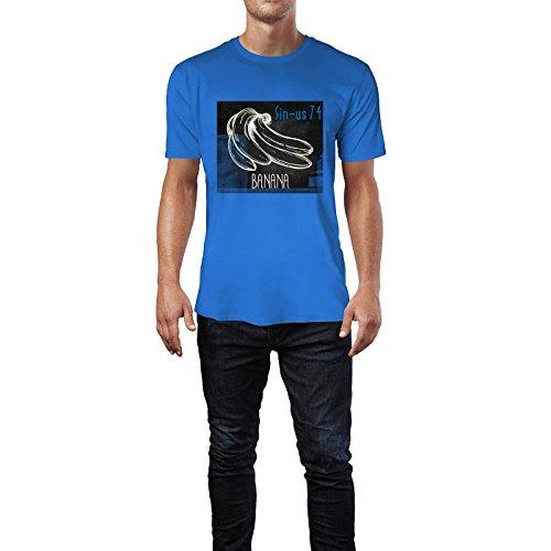 SINUS ART® Zeichnung einer Banane Herren T-Shirts in Blau Fun Shirt mit tollen Aufdruck