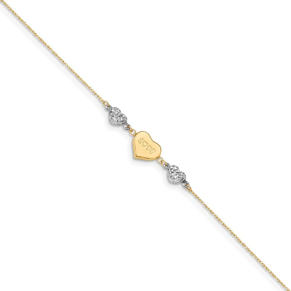 14K Two-tone Gold Diamond-cut Puffed Heart LOVE w/ 1'' extension Anklet ~ Length 9'' inches ~ from Roy Rose Jewelry