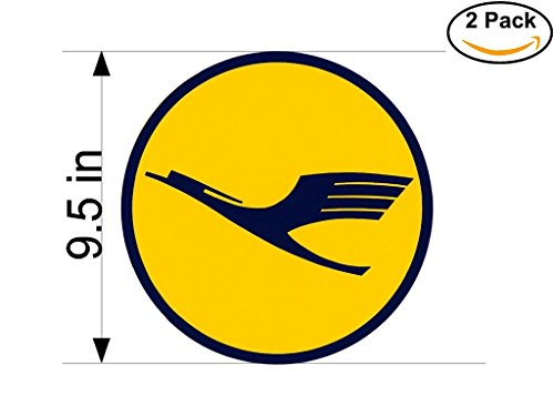 Lufthansa 2 Airlines Airplane Sticker Decal 2 Stickers Huge 9.5 Inches