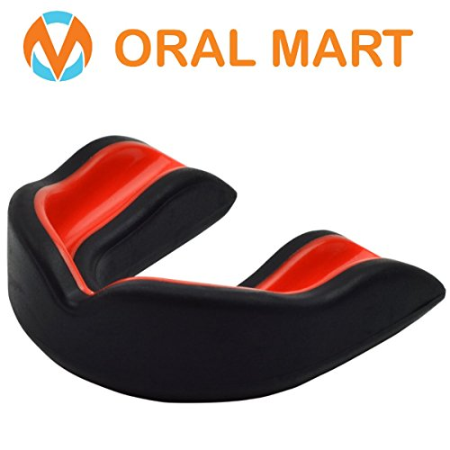 Oral Mart Black/Red Youth Mouth Guard for Kids - Youth Mouthguard for Karate, Flag Football, Martial Arts, Taekwondo, Boxing, Football, Rugby, BJJ, Muay Thai, Soccer, Hockey (with Free Case)