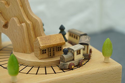 Decorative Wooden Music Box with Moving Train, Valentine's Day Gift Idea