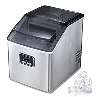 TAVATA Countertop Ice Cube Maker, Portable Ice-making Machine Made of Stainless Steel, Automaticice machine with LCD Display,Self-cleaning Function. Perfect for Home, Kitchen, Office& Bar (silver)