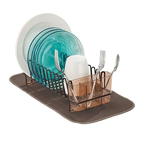 Rack Dish Mini - mDesign Compact Modern Metal Dish Drying Rack and Microfiber Mat Set for Kitchen Countertop, Sink - Drain and Dry Wine Glasses, Bowls and Dishes - Removable Cutlery Tray - Set of 2 - Bronze/Brown