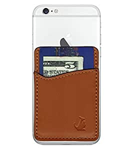 Wallaroo Premier: Leather Phone Card Holder Stick On Wallet for iPhone and Android Smartphones Kangaroo (Brown Leather)