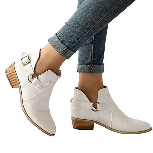 (Women's Ankle Boots Easy Slip On/Off Chunky Low Heel Ankle Bootie V-Cut Back Zipper Boots Buckle Strap by Lowprofile White)
