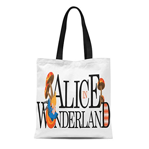 Semtomn Canvas Tote Bag Shoulder Bags Ace Wonderland Alice Text 10 Hat Cartoon Chain Childhood Women's Handle Shoulder Tote Shopper Handbag