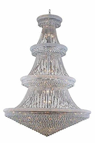 Primo Collection Crystal Large Hanging Fixture H96in D72 Lt:66 Chrome in Swarovski® Elements Crystal