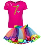 Bubblegum Divas Little Girls' 7th Birthday Gold Princess Rainbow Tutu Outfit 7-8