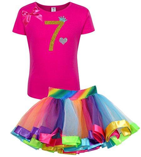 Bubblegum Divas Little Girls' 7th Birthday Gold Princess Rainbow Tutu Outfit 7-8 by Bubblegum Divas