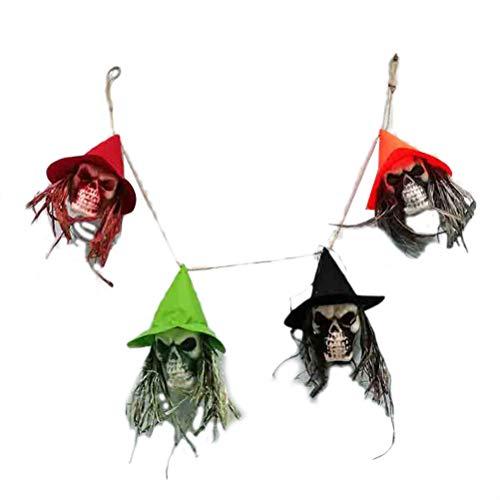 Amosfun Halloween Ghost Head Bunting Banner Halloween Party Hanging Decorations Halloween Home Door Garden Bar Decoration Supplies -