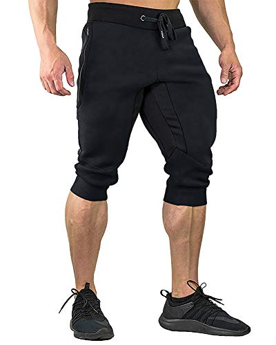 FASKUNOIE Men's Three-Quarter Capri Pants 3/4 Workout Training Jogger Short Pants Zipper Pockets Black(mesh)