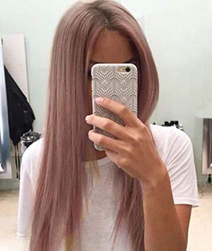 Zenith Fairy Style - Rooted Brown Dirty Pink Lace Front Wigs for Women Ombre Brown Roots Pinkish Color Silky Straight Hair Front Lace Wigs for African American Women