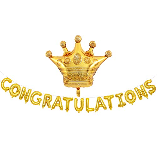 Gold Congratulations Balloons Banner with Crown Balloon Party Decorations ()