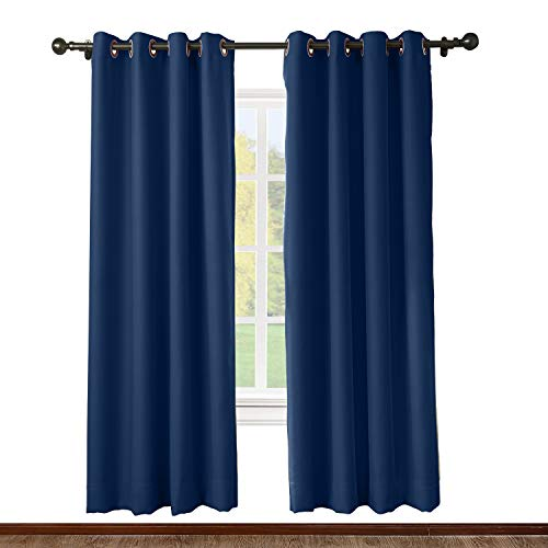 (ChadMade Solid Thermal Insulated Blackout Curtains Drapes Antique Bronze Grommet/Eyelet Navy 52W x 72L Inch (Set of 2 Panels))