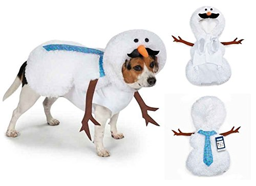 Mustache Snowman Dog Costume Fuzzy, 3-D Silly Winter Look with Tie & Branch Arms(Medium) (Silly Snowman Christmas Costume)