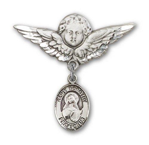 Icecarats Créatrice De Bijoux En Argent Sterling St. Dorothy Charme Ange Broche De Badge 1 1/8 X 1 1/8