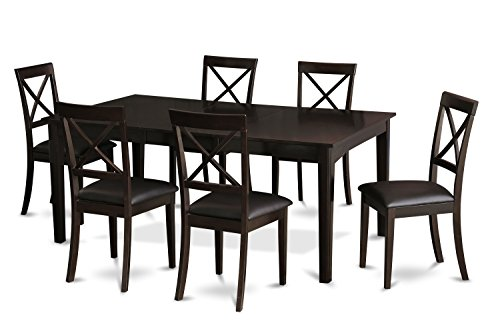 East West Furniture HEBO7-CAP-LC 7-Piece Dining Room Table Set, Cappuccino Finish