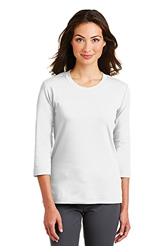 - Port Authority Women's Modern Stretch Cotton 3/4-Sleeve Scoop Neck Shirt, M, White