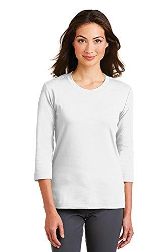 's Modern Stretch Cotton 3/4-Sleeve Scoop Neck Shirt, XL, White ()