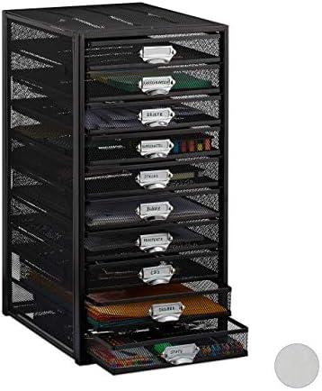 Relaxdays, schwarz Schubladenbox, 10 Schubfächer, für Din A4 Dokumente, Ordnungssystem für Schreibtisch, Aktenablage, Standard