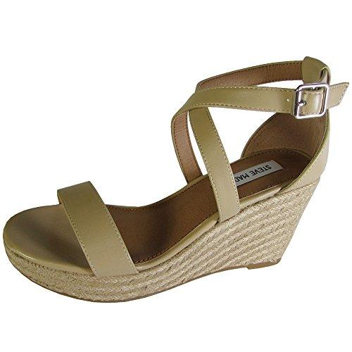 Steve Madden Womens Montaukk Espardille Jute Wedge Sandal, Natural, Size 9.0 US