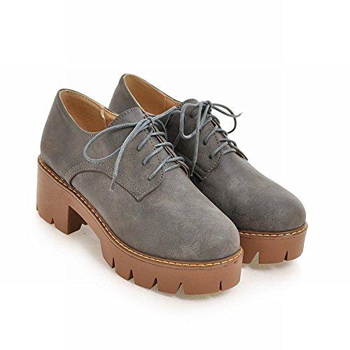 Basso Color E Mee Donna Tacco Da Scarpe Eleganti Grigio Shoes Con Stringate qqavw0
