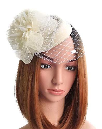 Fascinator Hats Pillbox Hat British Bowler Hat Flower Veil Wedding Hat Tea Party Hat (Beige) -