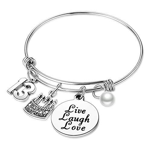 Nimteve Birthday Gifts for Her Expandable Bangle Birthday Bracelets for Women Charm Bracelet Happy Birthday Jewelry Gift Ideas (13th Birthday) -