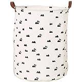 Mvchif Large Canvas Toy Bag Round Laundry Tote Basket...