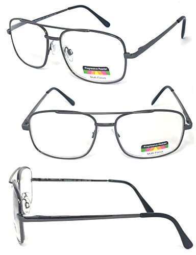 VeryHobby® Rectangular Metal Frame Spring Hinges Multi 3 Focus Progressive Reading Glasses (+2.50, - Power Reading Glasses Lowest