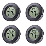 Veanic 4-pack Mini Hygrometer Thermometer Fahrenheit or Celsius Meter Digital LCD Monitor Indoor Room Round Humidity Temperature Gauge for Humidors Home Humidifiers Car Greenhouse Babyroom