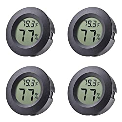 Veanic 4 Pack Mini Hygrometer Thermometer Fahrenheit Or Celsius Meter Digital Lcd Monitor Indoor Room Round Humidity Temperature Gauge For Humidors Home Humidifiers Car Greenhouse Babyroom