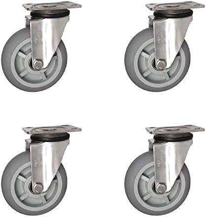 4キャスターホイールヘビーデューティスイベルトロリー家具TPRキャスターブレーキ付きハンドカートフラット交換ユニバーサルキャスタートロリーとテーブル用