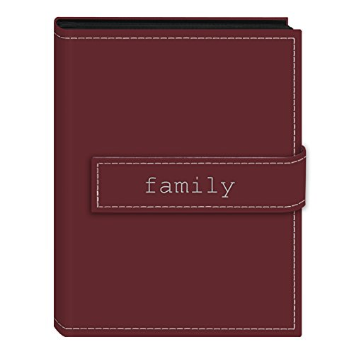 Pioneer Photo Albums 36-Pocket 4 by 6-Inch Embroidered Family Strap Sewn Leatherette Cover Photo Album, Mini, Burgundy