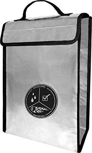 """Waterproof Box Non (DOCSECPRO Fireproof Waterproof Document Bag from Double-Layered Aluminum Fiberglass - 2000 ℉- Safe Storage - Safety Case for Files- Money- Passports-Jewelry- Valuables- Large-15""""x11""""x3""""-Non-Itchy)"""