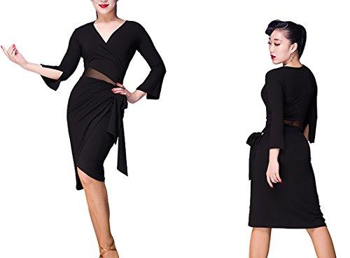 dress skirts skirt Cha Ballroom dance Cha skirt dance Latin sexy Black Fork Waltz skirt RpqSn4x