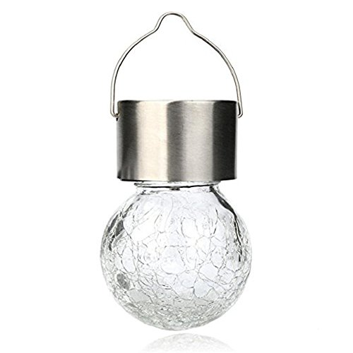 Welsun Crackle Glass Globe Pendant Rgb Lamp Solar Hanging Led Bulb Light Color Change Lantern Garden Party Yard Tree Decor 1Pcs