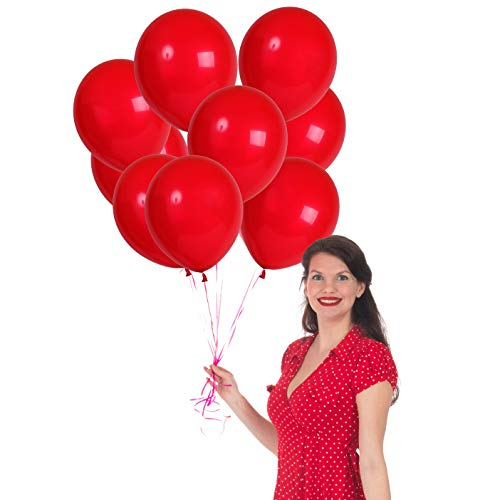 Treasures Gifted Strawberry Dark Cherry Red Latex Balloons 12 inch 100 Pack with Thick Helium Birthday Party Supplies for a Pearl Pink Watermelon Casino Carnival