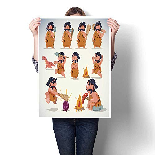 homehot Wall Decoration Caveman in Action Character Design Set Various Positions Decorative Fine Art Canvas Print Poster K 32