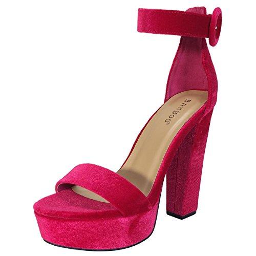 BAMBOO Women's Chunky Heel Platform Sandal with Ankle Strap, Fuchsia Velour, 5.5 B US