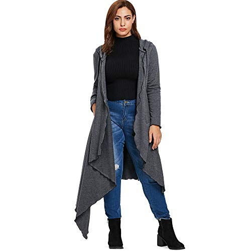 KCatsy Womens Plus Size Asymmetrical Maxi Hoodieirregular Long Sleeve Sweater (Filter Pre Grill)