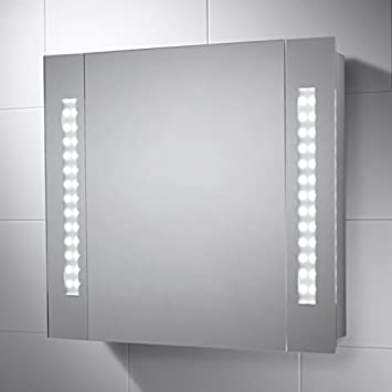 Pebble Grey LED Illuminated Battery Powered Bathroom Cabinet Mirror With  Rocker Switch To Activate Lights And