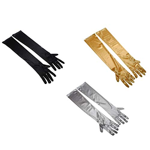 Women's Stretch Satin Above Elbow Long Gloves Bridal Evening Party Gloves - 3 pairs/set (Black Silvery Grey Golden)