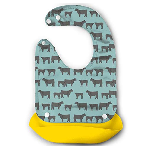 TNIJWMG Black Angus Cattle Cow Waterproof Adjustable Silicone Baby Bibs for Infants and Toddlers with Snaps Food Catcher Pocket