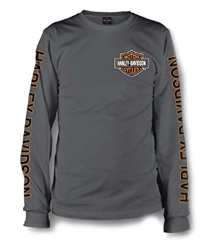 Harley-Davidson Men's Long Sleeve Orange Bar & Shield Grey Shirt 30291963 (2XL)
