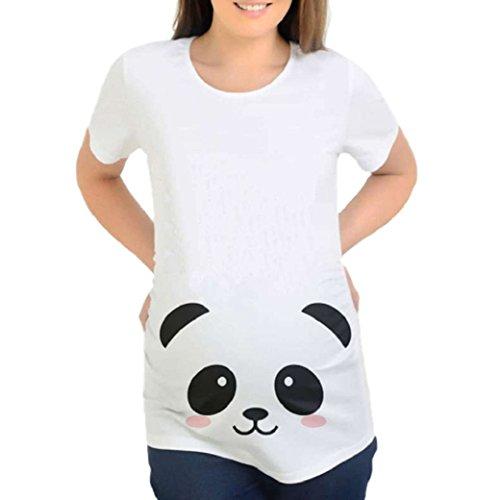 Hongxin Funny Pregnant T Shirt Women Pregnancy Cotton Shirts Casual Cartoon Print Tees Blouse Top Summer Maternity Costume Plus Size (A, M) ()