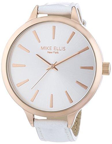 Mike-Ellis-New-York-Streamline-Reloj-de-cuarzo-para-mujer-correa-de-cuero-color-blanco