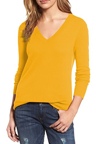 Viottis Women's Bottoming V-neck Cashmere Wool Ribbed Pullover Sweater Yellow M - Bottoming Sweater